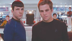 Zachary Quinto and Chris Pine play Leonard Nimoy and William Shatner in Star Trek.