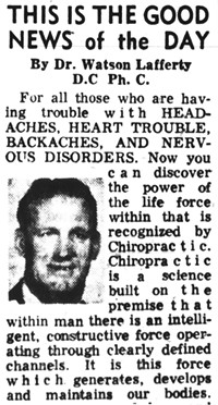 A 1965 ad for the family chiropractic practice featuring Watson Lafferty Sr., which ran in an April 1965 Daily Herald.