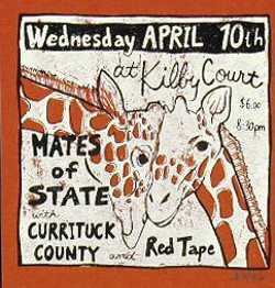 A 2002 poster for Mates of State, Currituck County and Redd Tape, which Will Sartain was a member of. - POSTER BY LEIA BELL