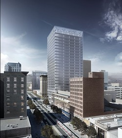 An artist rendition of a new 24-story office tower under construction at 111 S. Main St.