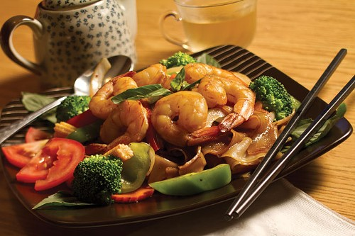 Chabaar Beyond Thai's Drunken Noodles with Shrimp
