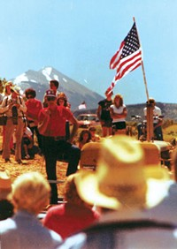 Grand County commissioner Ray Tibbetts at a 1979 protest against BLM road closures - COURTESY RAY TIBBETTS