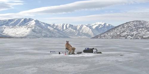 Ice fishing on Utah Lake