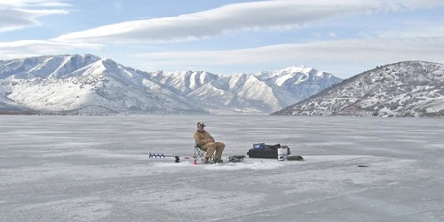 Ice fishing on Utah Lake