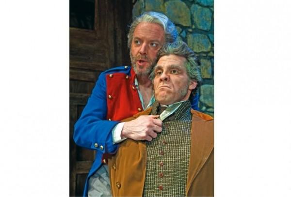 Joe Cassidy as Valjean (L), Josh Davis as Javert (R)