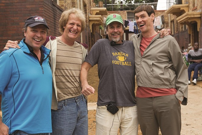 (L to R) Bobby Farrelly, Jeff Daniels, Peter Farrelly and Jim Carrey on the set of Dumb and Dumber To. - HOPPER STONE