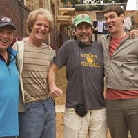 (L to R) Bobby Farrelly, Jeff Daniels, Peter Farrelly and Jim Carrey on the set of Dumb and Dumber To.