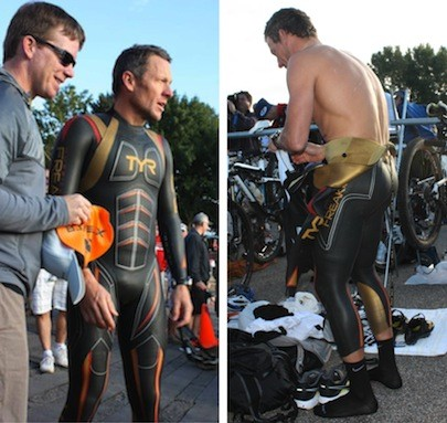 "LEFT: IN FULL WETSUIT, ARMSTRONG IS HANDED THE ORANGE ""PRO"" SWIM CAP BY - ONE OF HIS CREW. RIGHT: ARMSTRONG PEELS OFF HIS WETSUIT IN PREPARATION - FOR THE BICYCLE STAGE OF THE TRIATHLON. - S BY WINA STURGEON"
