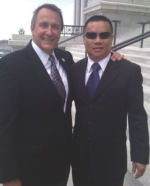 Mark Shurtleff and Sov Ouk at Utah Capitol - PHOTO FROM FACEBOOK.COM