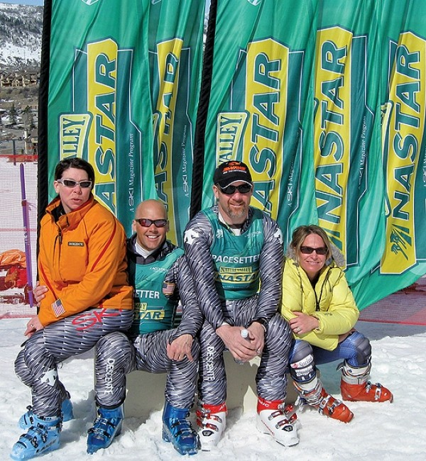 Official Nastar pacesetters and former U.S. Ski team racers Diann Roff,  Doug Lewis, AJ Kitt and Heidi Voelker