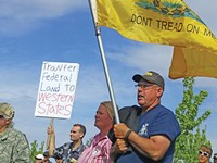 Protesters at the May 10 ATV rally in Centennial Park in Blanding - ERIC TRENBEATH