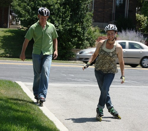 Skatenow owners and instructors Eric Kraan and Kimberly Simons Kraan strut their inline stuff. - WINA STURGEON