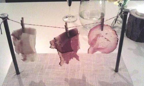 "Smoked meats on a ""clothesline"""