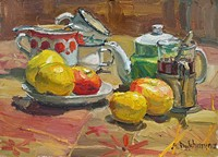 """Tea with Apple, 12"""" x 16"""", oil, by Anastasia Dukhanina"""