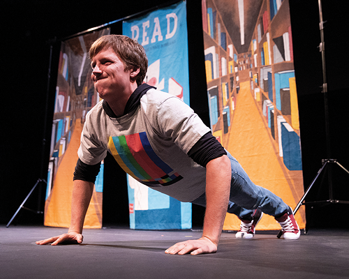 Ty Hawton in BYU Young Co.'s production of The World's Strongest Librarian - JAREN WILKEY