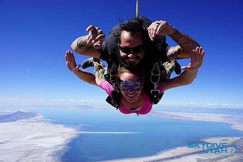 Mike Chapman and a Skydive Utah client in midair. - MATT HOCKMAN