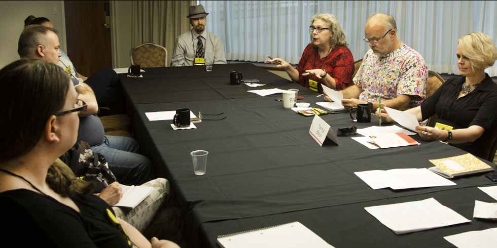 Johnny Worthen (center right) participates in a live critique for attendees at League of Utah Writers' 2018 Quills Conference - BOB CAREY