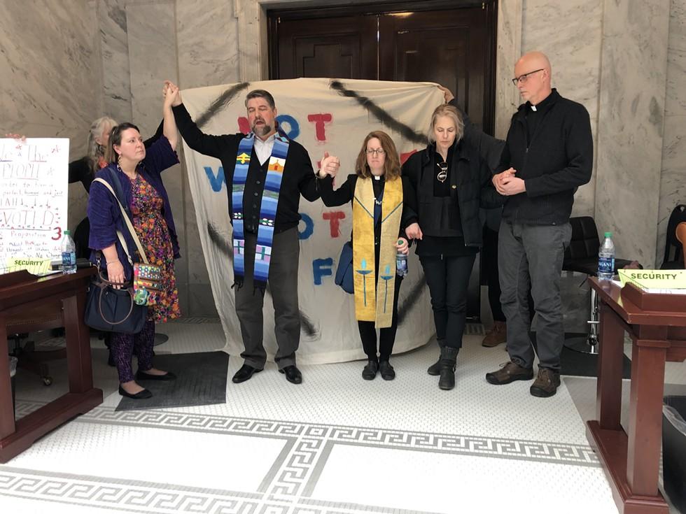 Third from left: First Baptist Church Rev. Curtis Price, First Unitarian Church Rev. Monica Dobbins, Anna Zumwalt and Rev. David Nichols, of the Mount Tabor Lutheran Church. - KELAN LYONS