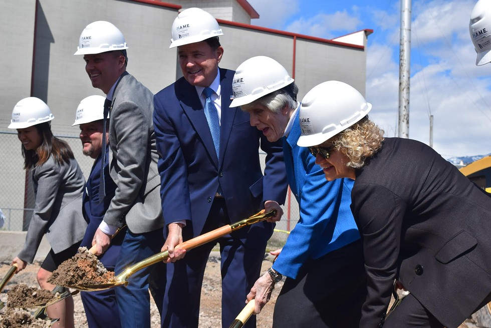 Lt. Gov. Spencer Cox, Gov. Gary Herbert, Pamela Atkinson and Salt Lake City Mayor Jackie Biskupski break ground at the future Pamela's Place Apartments. - RAY HOWZE