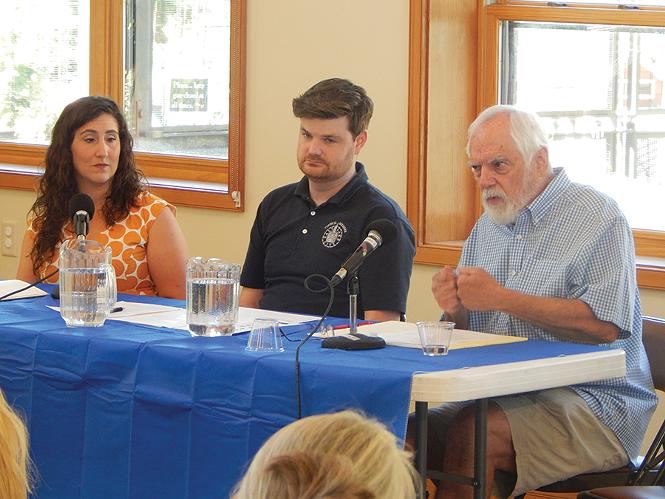 Salt Lake County Councilwoman Shireen Ghorbani (left), City Councilman Chris Wharton and the Crossroads Urban Center's Tim Funk. - PETER HOLSLIN