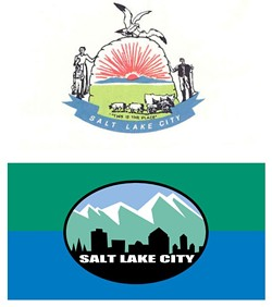 """Above: The city's original flag, which looked more like a """"Mormon Sunday School"""" banner, according to former Mayor Rocky Anderson. Below: The city's current flag designed during Anderson's tenure."""