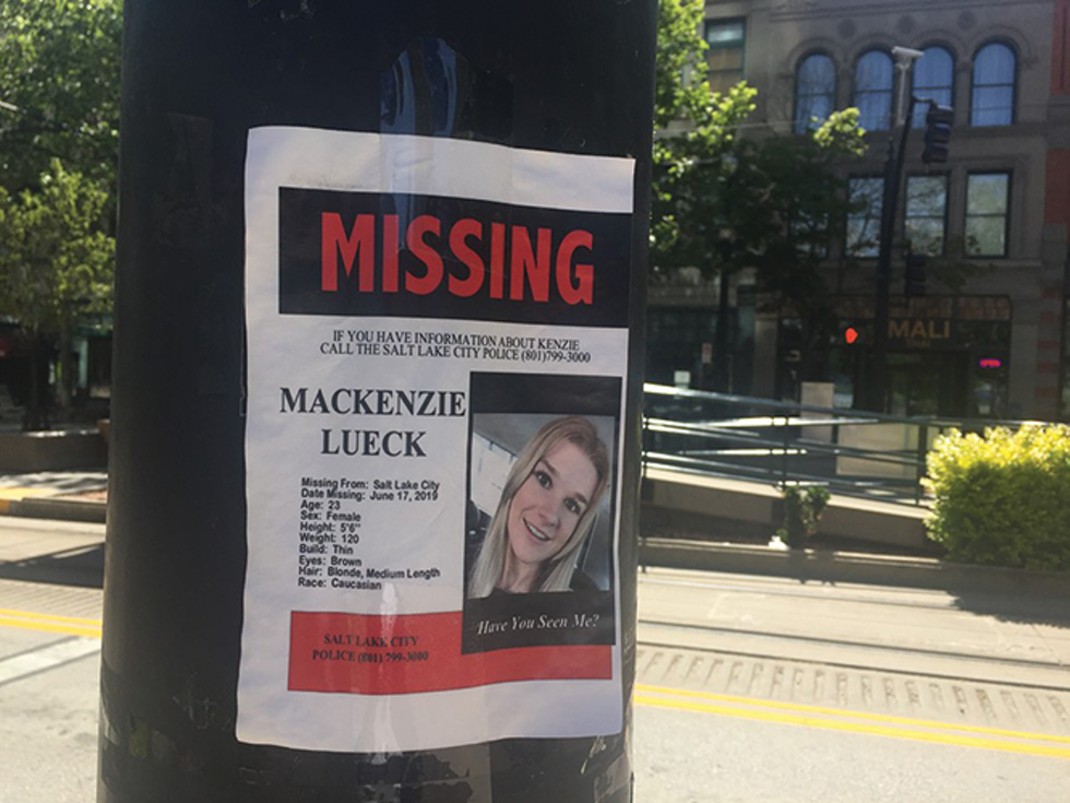 A flyer in downtown Salt Lake City features missing person Mackenzie Lueck. The U student was found dead in June. - ENRIQUE LIMÓN