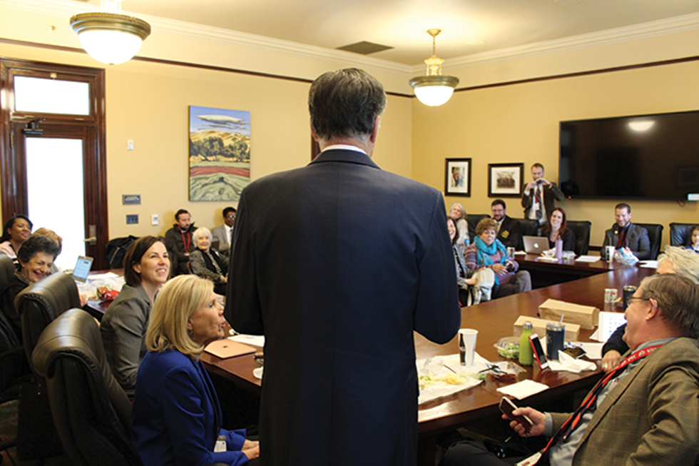 "Mitt Romney calls himself a ""renegade Republican"" during a visit with Democratic lawmakers at the Capitol. - ENRIQUE LIMÓN"