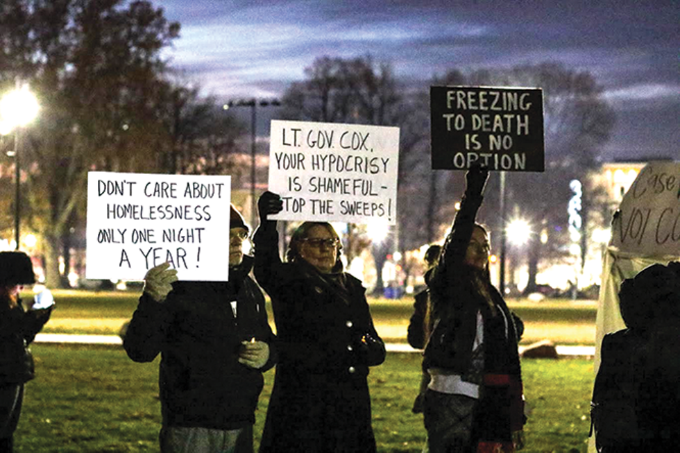 A group gathered at the annual vigil remembering homeless lives lost in Utah asking for more to be done to solve the crisis. Ninety-two homeless people died on Utah streets in 2019. - JENNIFER GUZM