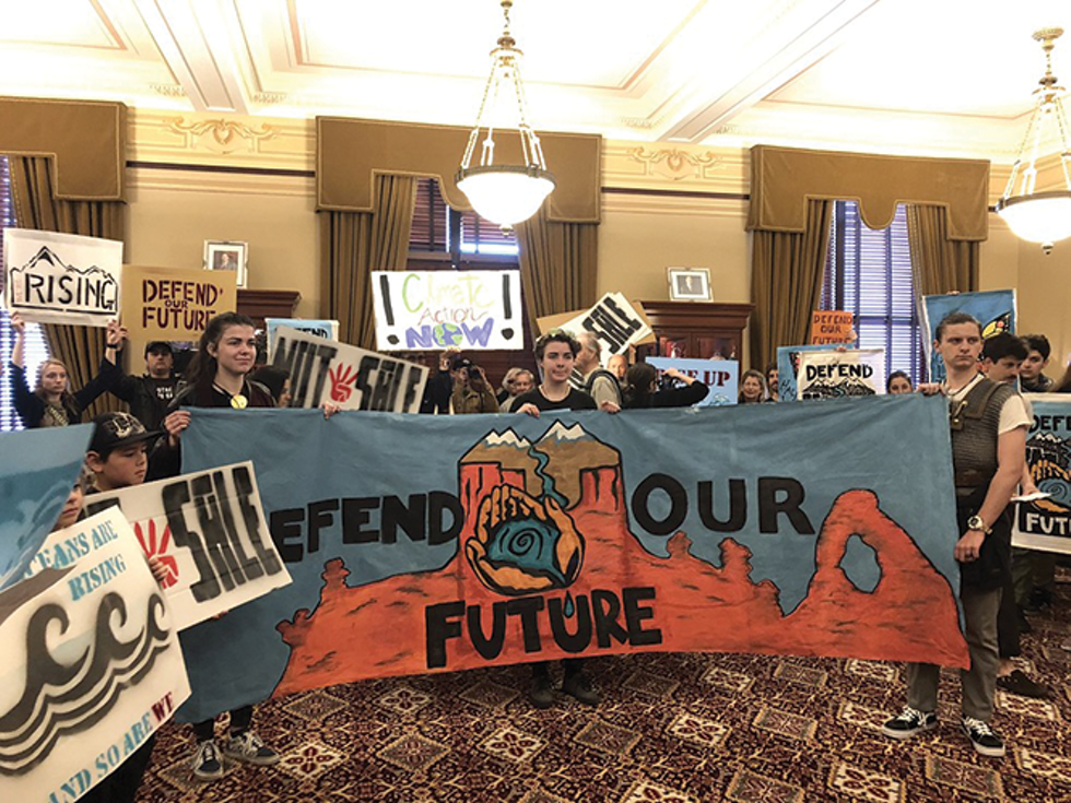 Students gathered outside Gov. Gary Herbert's office in March asking him to request the deferral of parcels in the BLM's oil and gas lease sale that month. - KELAN LYONS