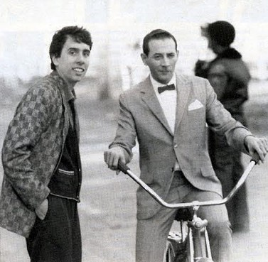 Tim Burton and Paul Reubens on location during the filming of Pee-Wee's Big Adventure. - VIA PEEWEE.COM