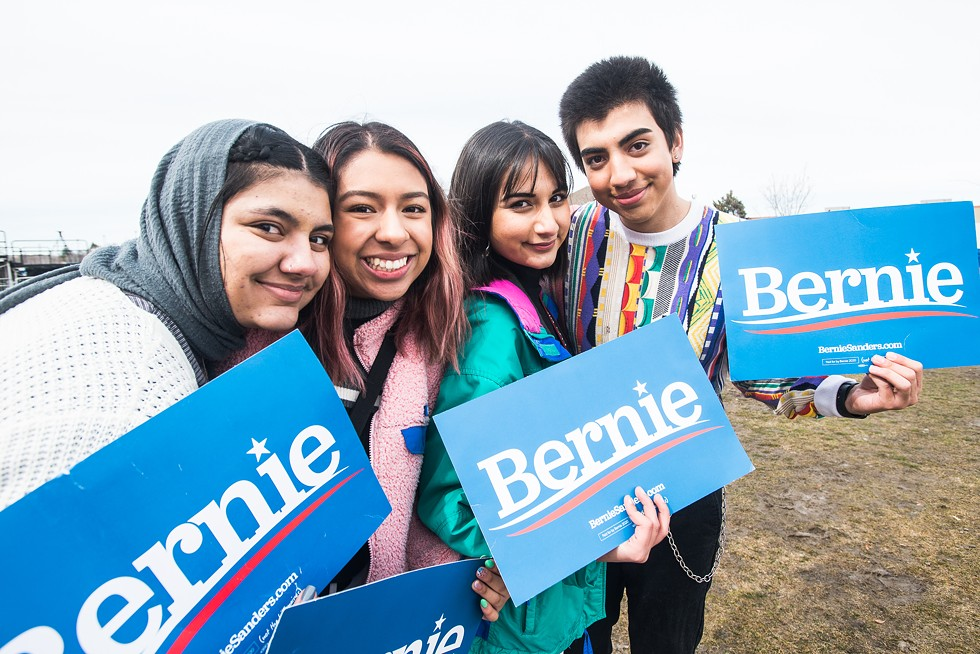 Sanders supporters gathered at the Fairpark on Monday. - ROSS COYLE