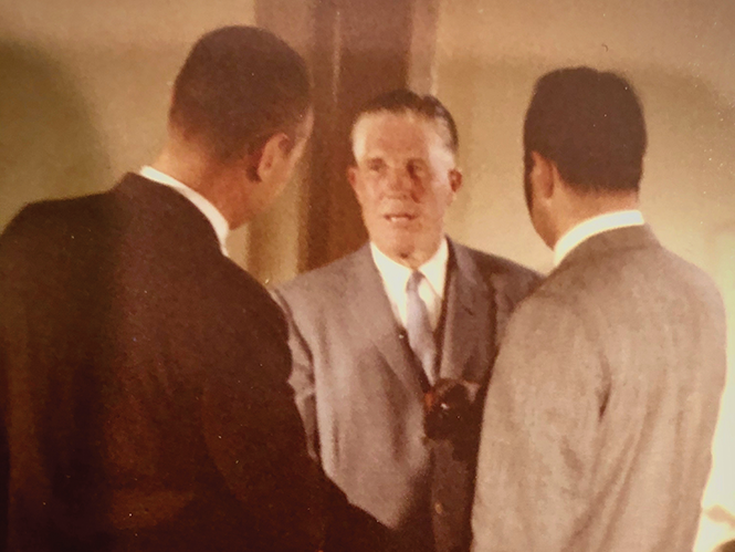 Fathers conversing: George Romney, center, speaking with network correspondent  Sander Vanocur, right, in the 1960s - COURTESY CHRIS VANOCUR