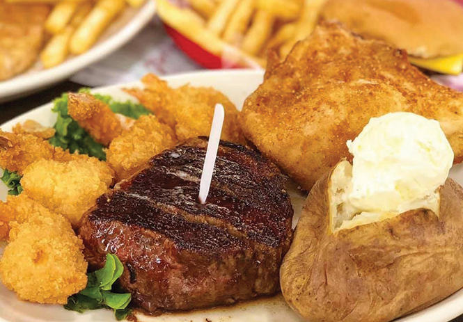 Filet mignon, fried chicken and fried shrimp at Maddox Ranch House - COURTESY PHOTO