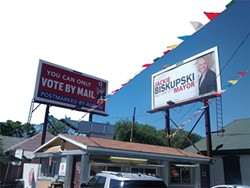 """A billboard provided to Mayor-elect Jackie Biskupski paid for by a """"super PAC""""  drew fire leading up to the 2015 mayoral primary."""