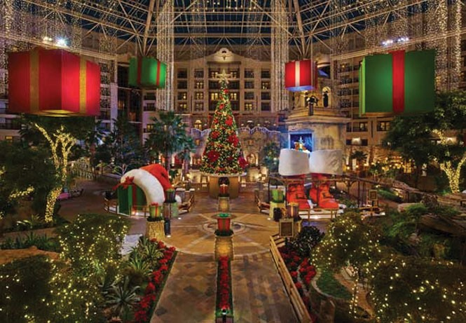 The Gaylord Texas Resort, also in Grapevine, decks its halls in a big way.