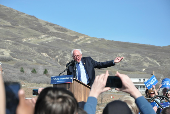 Sanders speaks to a crowd of thousands in Salt Lake City on March 18. - CF