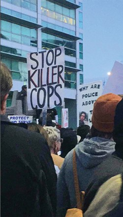 Protestors took to the streets on Feb. 29 to denounce the officer-involved shooting. - NICOLE ENRIGHT