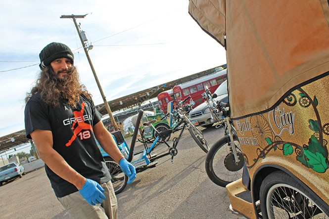 "Tiger uncaged: Salt City Cycle Cab's Louis Gasper says local pedicab ordinance process moves ""slower than molasses."" - ENRIQUE LIMÓN"