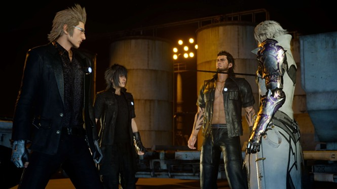 Does it look weird that I'm in a leather jacket with no shirt on? - SQUARE ENIX
