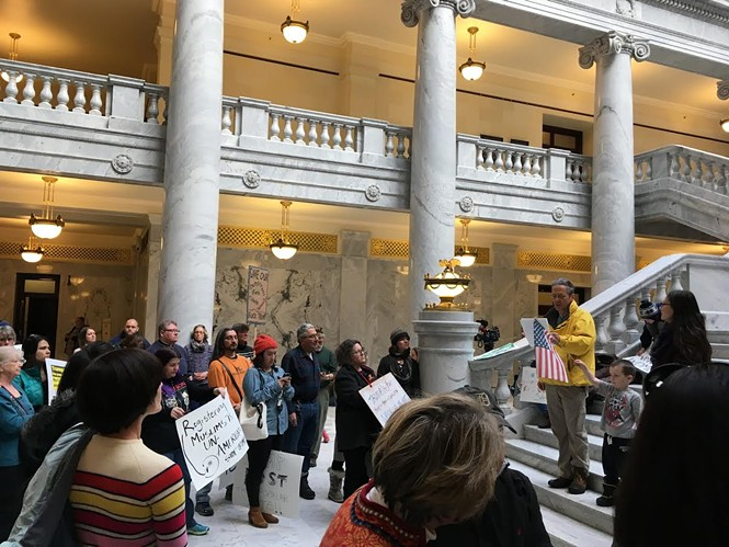 Protesters congregated at the Capitol on Monday afternoon as electors unanimously cast their votes for Trump. - DW HARRIS