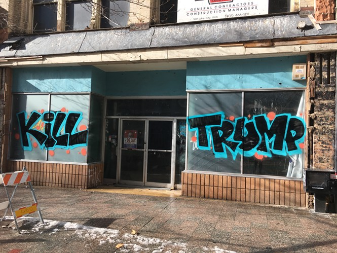 Graffiti that appeared on Main Street the morning of the inauguration of President Donald Trump. - STEPHEN DARK