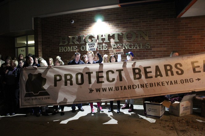 Herds of protesters gathered outside the Chaffetz' town hall on Thursday. - ENRIQUE LIMÓN