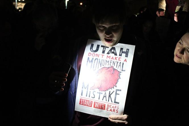 A protester outside Jason Chaffetz' Feb. 9 town hall. - ENRIQUE LIMÓON