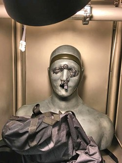 Smartman test dummy being prepped for chemical testing. - DW HARRIS