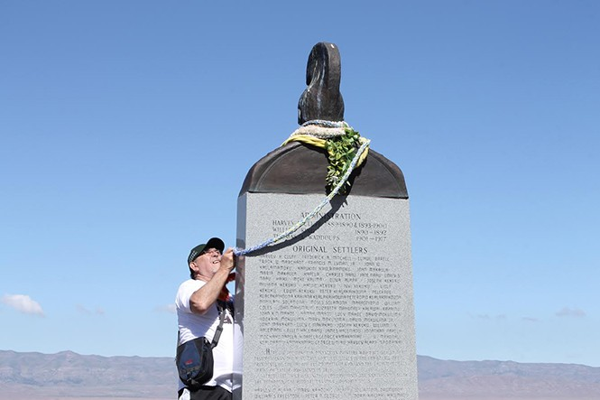 Colorful leis go up on Iosepa's Historical Memorial to commemorate the ghost town's anniversary. - JORDAN FLOYD