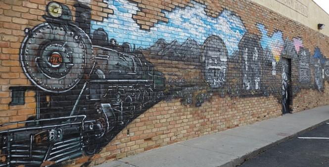 A mural on the wall of the Old Town Tavern depicting Midvale's history - STEVEN VARGO