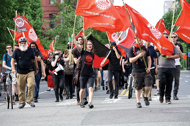 Industrial Workers of the World supporters march for J20 defendants on May Day in Washington, D.C. - BAYNARD WOODS