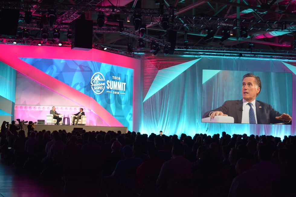 Romney offered the keynote speech at the Silicone Slopes Tech Summit on Friday. - RAY HOWZE