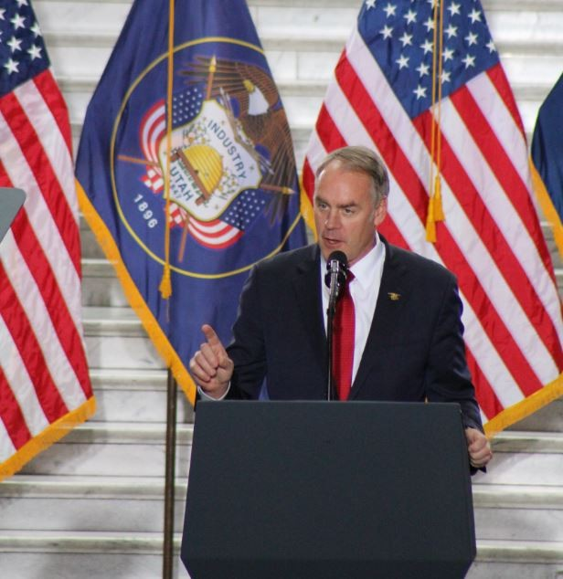 Interior Secretary Ryan Zinke speaks about reducing Bears Ears National Monument at the State Capitol during President Trump's December visit. - ENRIQUE LIMÓN
