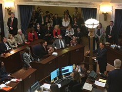 Gov. Herbert takes the Senate chamber floor on Thursday. - DW HARRIS